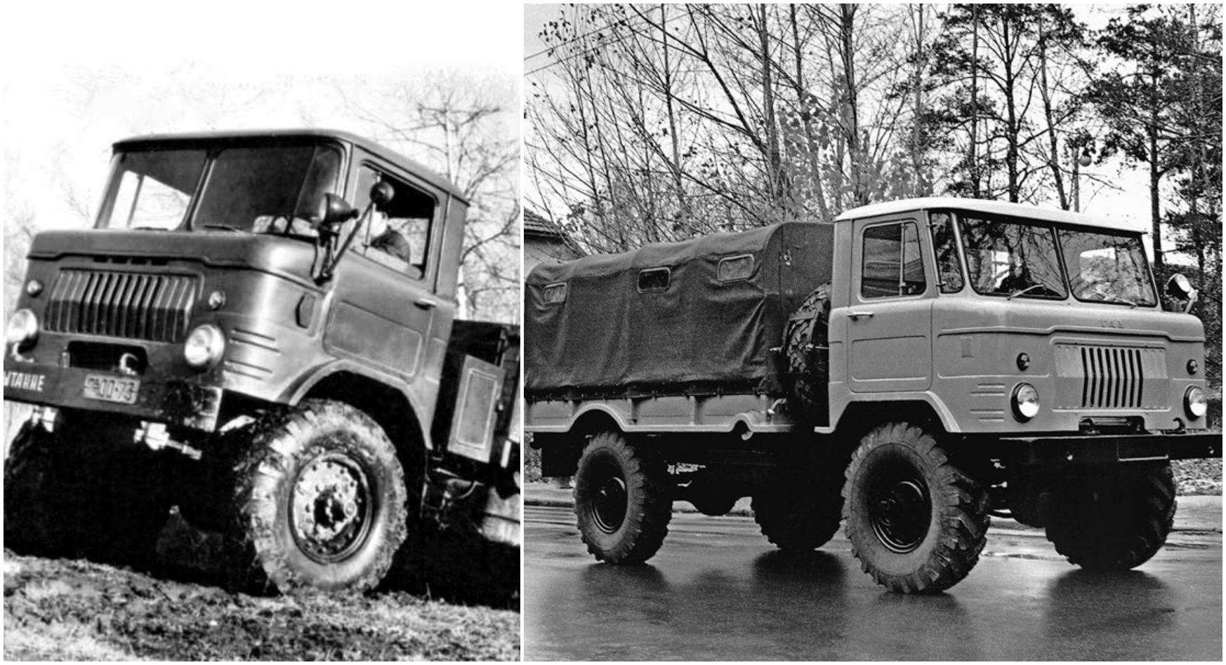 Один из первых опытных ГАЗ-66 (1958 год) и уже предсерийный экземпляр 1962 года