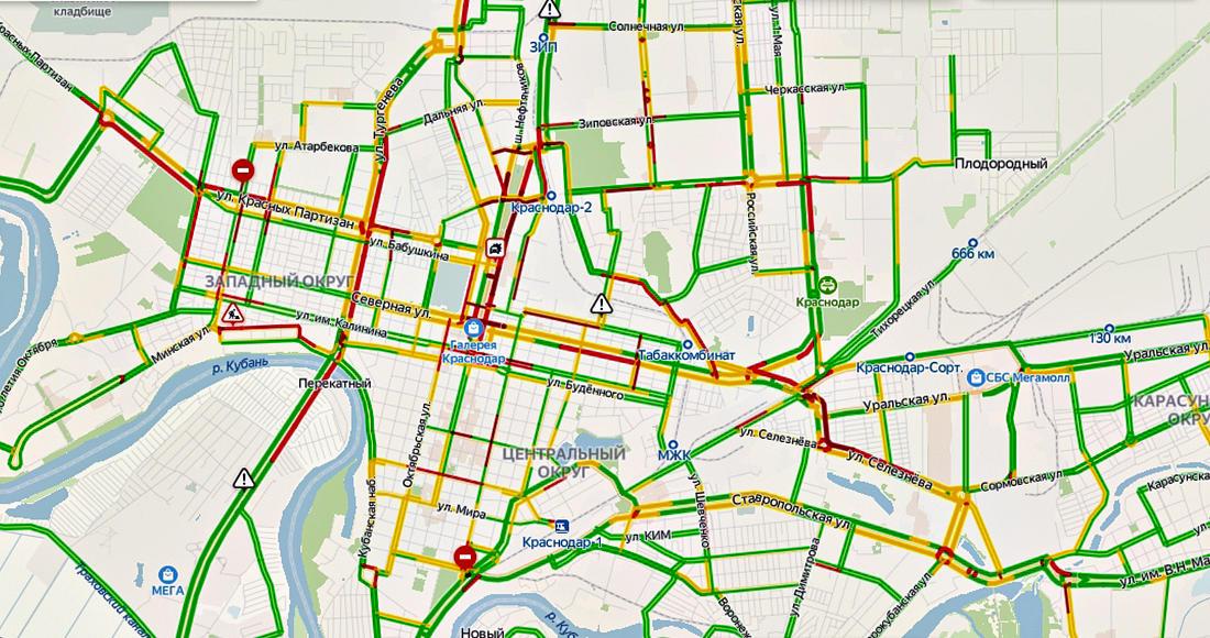 Ситуация на дорогах Краснодара примерно аналогичная довирусной