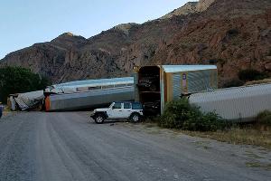 Авария поезда в США ©Фото Lincoln County Sheriff's Office Nevada